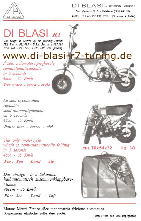 Di Blasi R2 Klappmoped - Datenblatt